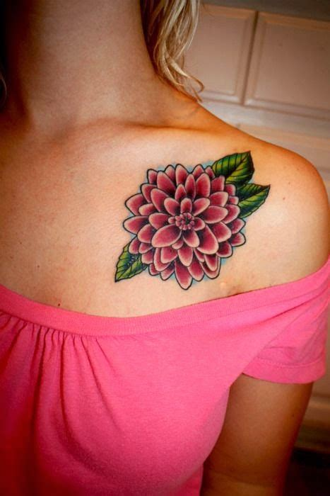 22 dahlia shoulder tattoos