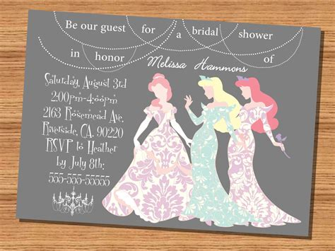 princess wedding shower invitation disney princesses