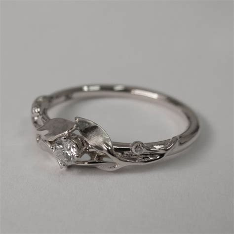 leaves engagement ring 14k white gold and