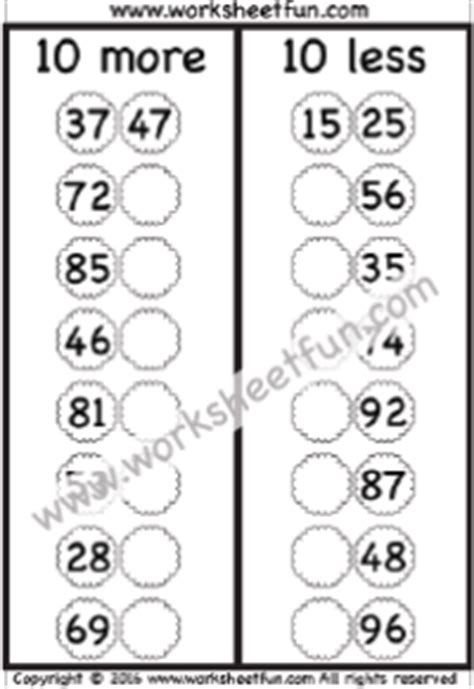 10 More 10 Less Worksheets by Addition Add Tens Free Printable Worksheets Worksheetfun