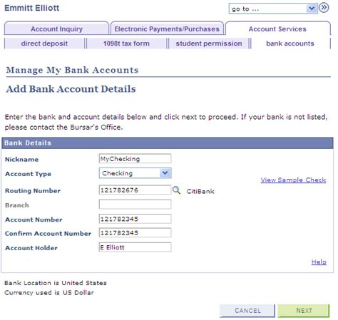 bank account details using account services