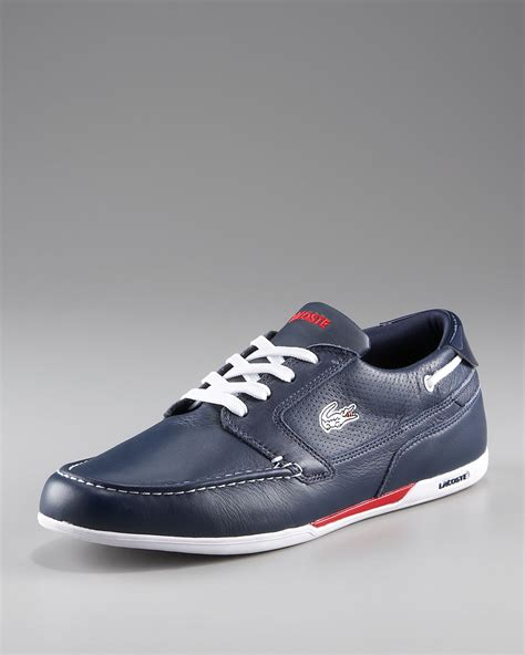 white and blue polo boat shoes lacoste mens dreyfus boat shoe in blue for men lyst