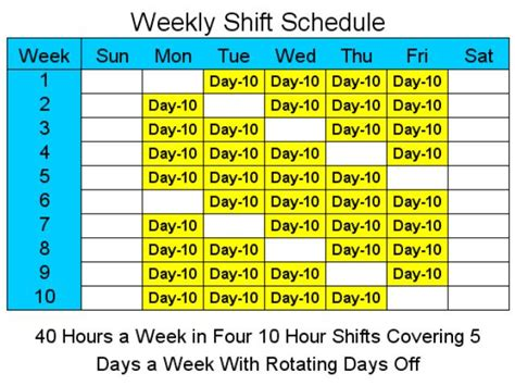 10 hour shift schedule exles