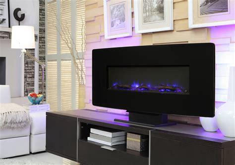 muskoka  curved front wall mount fireplace black