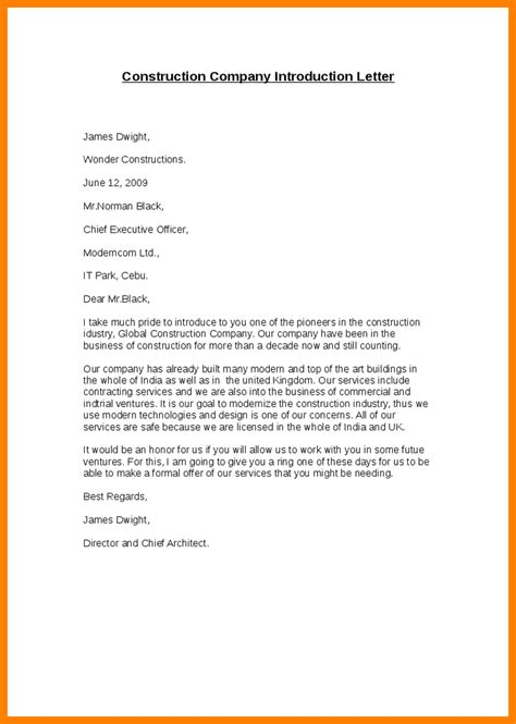 Business Letter Of Introduction 6 company presentation letter science resume