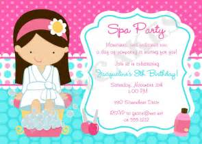 spa invitation spa birthday spa invitation