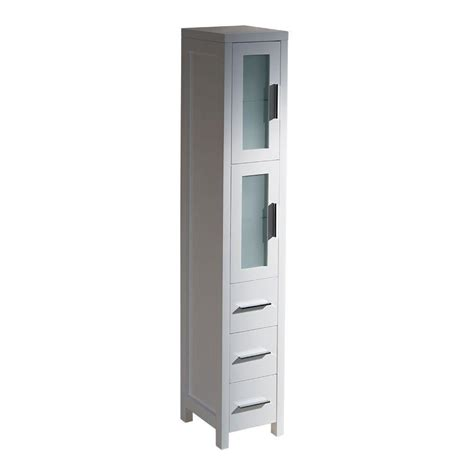 White Bathroom Storage Tower Fresca Torino 12 In W X 68 13 100 In H X 15 In D Bathroom Linen Storage Tower Cabinet In