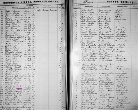 Ohio Birth Record Rolfes The Spiraling Chains Schroeder Tumbush Family Trees
