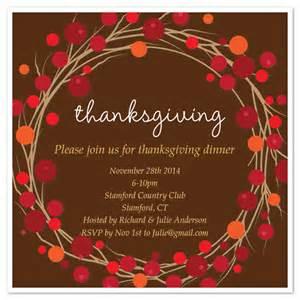 thanksgiving invitation templates thanksgiving wreath invite invitations cards on pingg