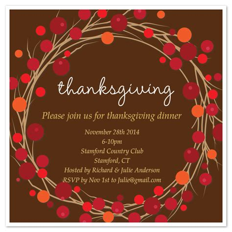 thanksgiving wreath invite invitations cards on pingg com