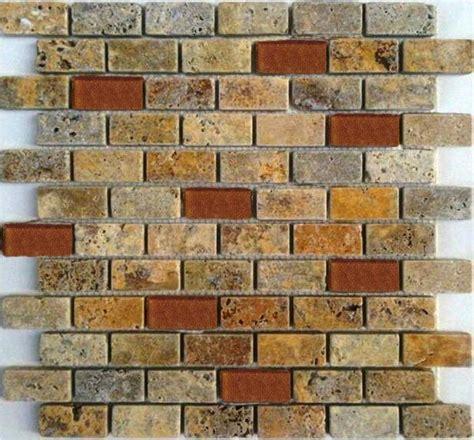 1 x2 ceramic mosaic tile 12 quot x 12 quot 1 quot x2 quot scabas travertine mosaic tile with glass