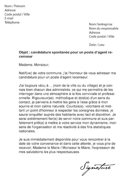 lettre de motivation recenseur mairie mod 232 le de