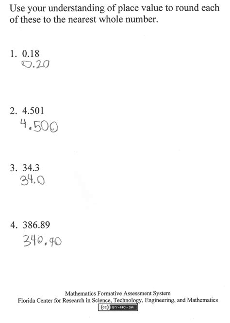 Rounding Decimals To The Nearest Whole Number Worksheet by Rounding Whole Numbers And Decimals Worksheet Answers