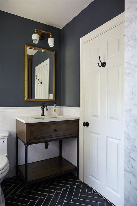 grey and blue bathroom kids bathroom with gray slate herringbone floor tiles