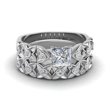 princess cut floral bezel set wedding ring set in