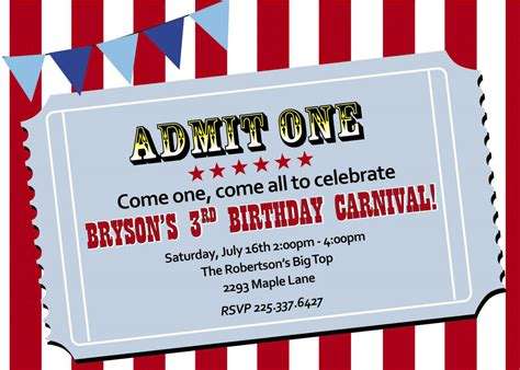 carnival themed invitations carnival birthday invitations birthday party invitations
