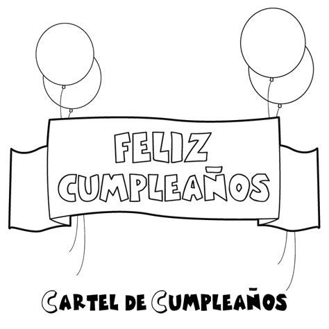 imagenes en blanco y negro de feliz cumpleaños dibujo de un cartel de feliz cumplea 241 os para colorear