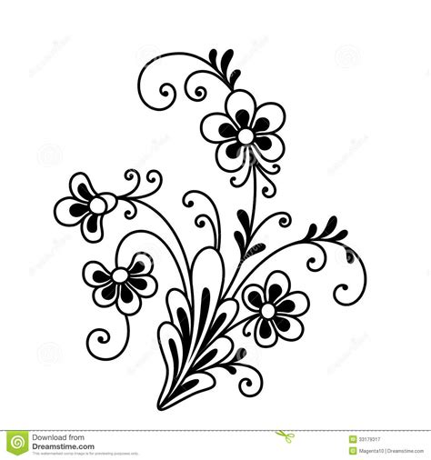fancy flower stock vector image of monochrome flourishes
