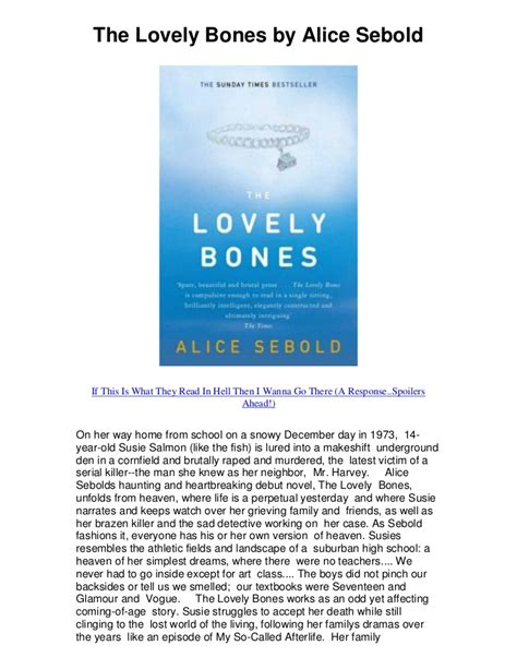 The Lovely Bones Essay by Essay About The Lovely Bones Specialist S Opinion