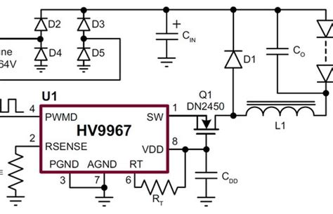 integrator circuit using mosfet led driver from supertex delivers superior current accuracy with integrated mosfet led