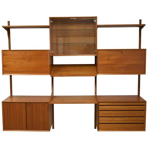 mid century modern adjustable wall shelving unit for sale