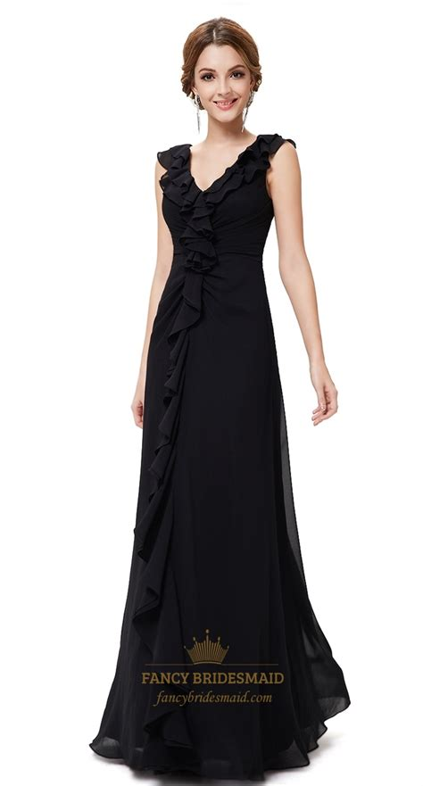 floor length black dress black floor length chiffon dress beautiful black evening