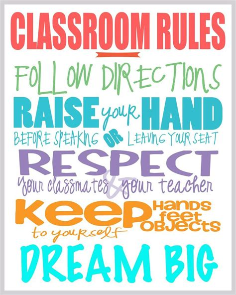 printable school rules poster class rules free printable printables pinterest