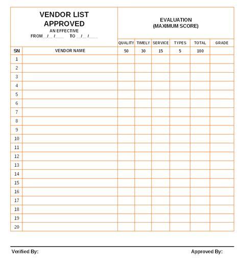 approved vendor list template approved vendor list format