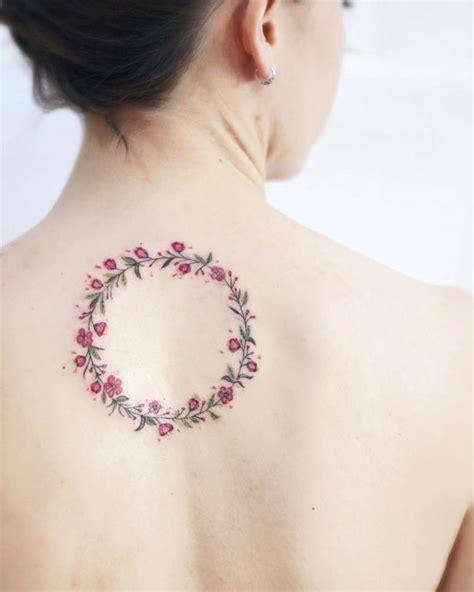 tattoo flower wreath cherry blossom flower wreath tattoo on the upper back