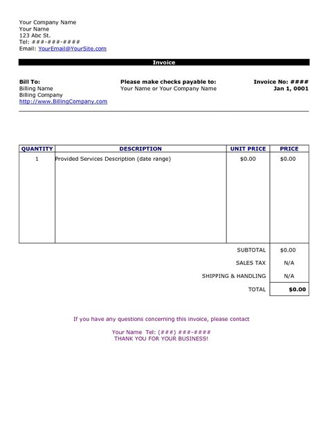 ms word invoices free invoice templates