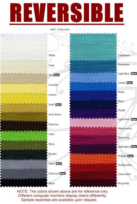 new color collection chart nicole s blog unusual colors reversible napkins satin and dupioni sides