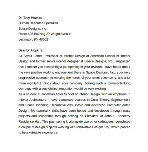 cover letter exles for interior design sle microsoft word cover letter template 18 free