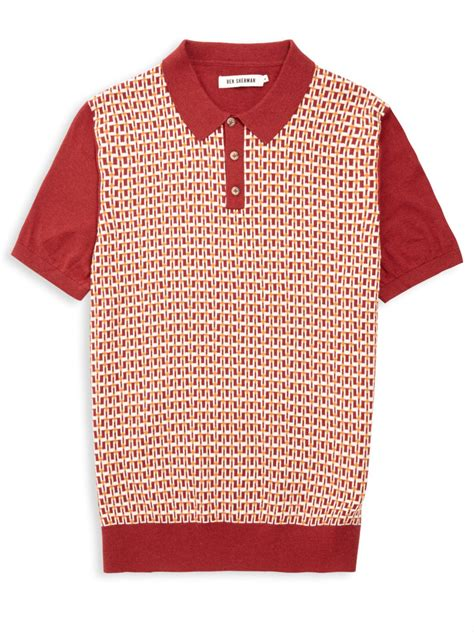knit polo shirts lyst ben sherman geo knit polo shirt in for
