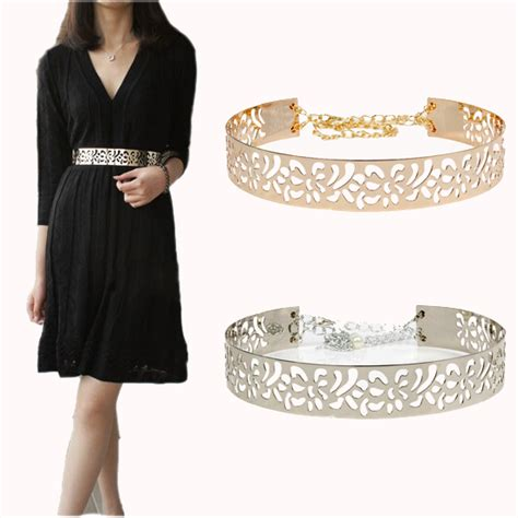 summber gold silver metal flower belt shinny