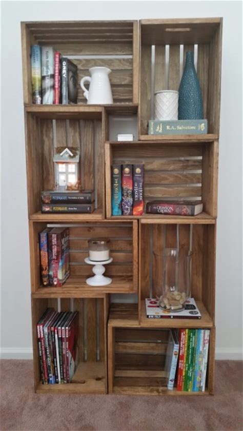 my crate bookshelf stained with early american by minwax
