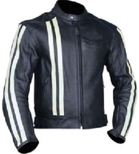 Jaket Black Biker Leather Exklusif Sk 62 black motorcycle leather jacket with white strips