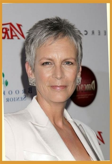 jamie lee curtis short no fuss hairstyle for silver grey
