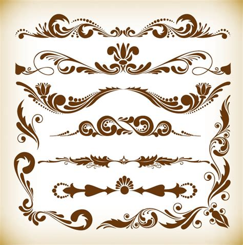 ornament design elements vector set vector illustration set of vintage ornament elements
