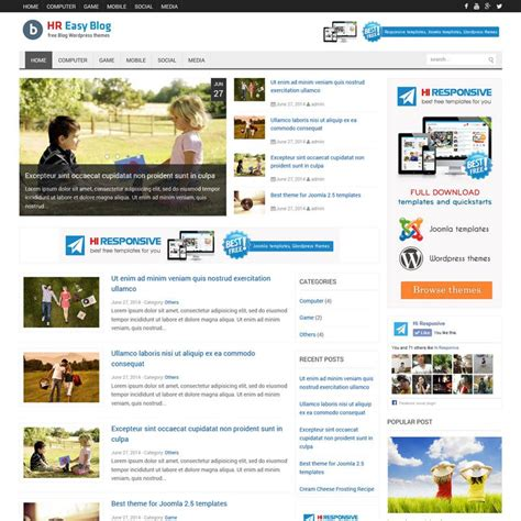 template joomla responsive blog hr easy blog best free responsive website templates