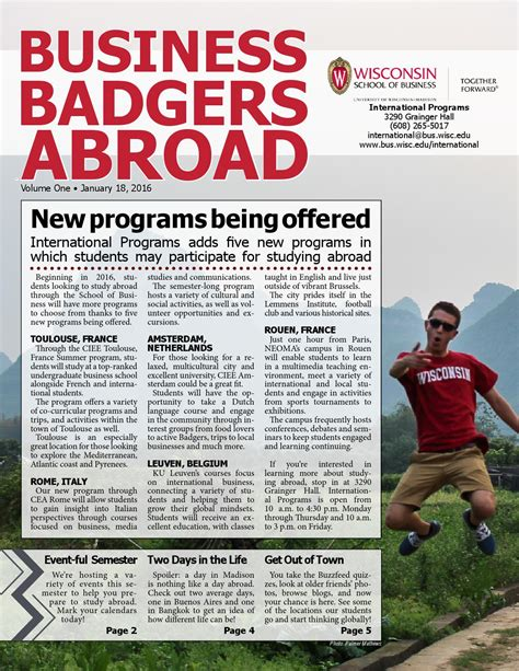 Of Wisconsin Mba 2016 Student Profiles Cohort by 2016 International Programs Newsletter By