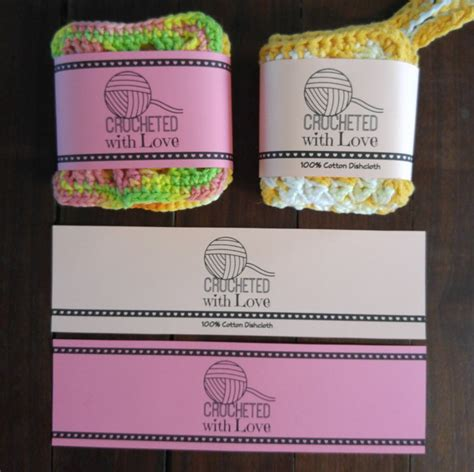 Handmade Labels For Crochet - printable pdf crochet dishcloth label wrappers crocheted