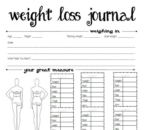 8 best images of printable weight journal templates