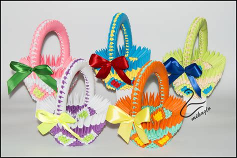 Origami Easter Basket - mikaglo origami 3d baskets easter by majka16g on deviantart