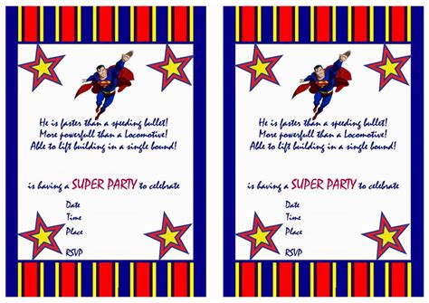 superman superpowers card template superman birthday invitations birthday printable