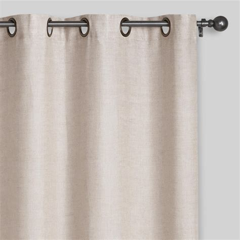 linnen curtains natural linen grommet top curtains set of 2 world market