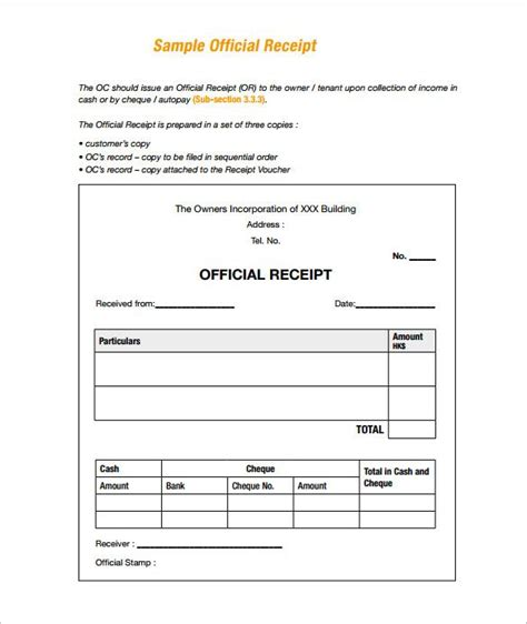 .sample of official receipt paying taxes a guide for the self
