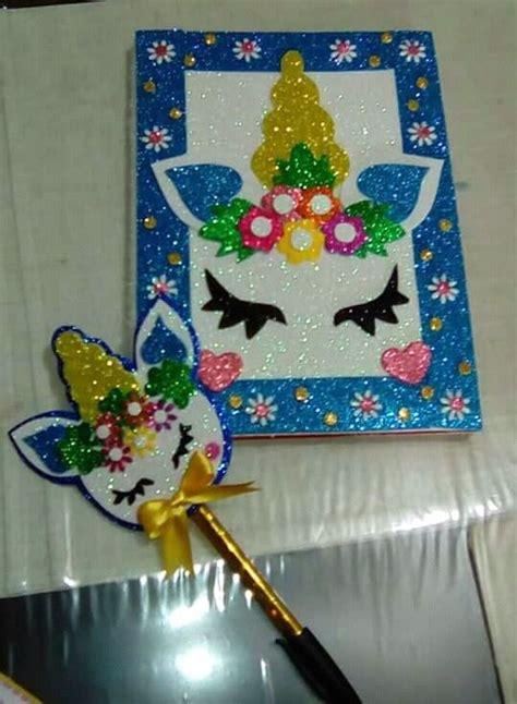 cuadernos decorados de unicornio con foami imagen relacionada libretas decoradas con foamy y scrapbook