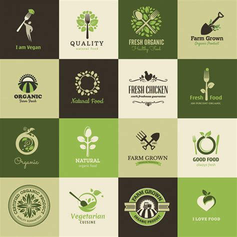 Home Name Plate Design Online Organic Vegan Natural Food Logos Vector Set Welovesolo