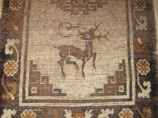 mongolian rug camel  dark brown  dyed animal wool