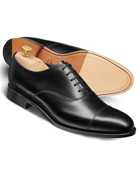 oxford shoes black black calf leather toe cap oxford shoe charles tyrwhitt